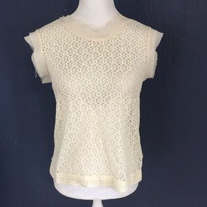 PINKY'S Woman's Ivory Lace Tank Top Blouse Size M